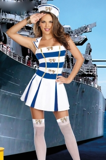 Sultry Anchors Away Costume with Gold Bows Stockings, Toppers