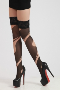 Sexy Carnatio Nude Cutout Illusion Design Stockings