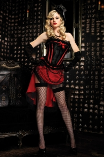 Sexy Scarlett Boned Corset top with Bow Accents & Zipper Front