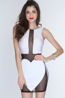 Provoking White Mesh Mini Dress with Sweetheart Panel Design and Open Back