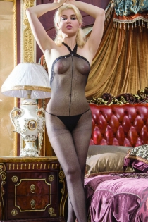 Sexy Halter Bodystocking with Studded Trim