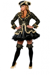 Lady Hook Finely Golden Prints Longsleeve With Velvety Black Tight Fit Lower Ruffled Underlayer