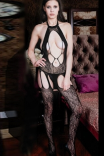 Sexy See Through Bodystocking with Front Cutcouts, Halter Neck