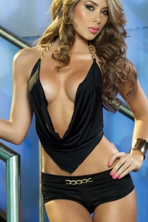 Sexy Slinky Low Neck Top with Chain Halter and Back Tie Feature