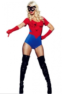 Sexy Spider Woman Super Hero Costume Leotard with Spider Accents