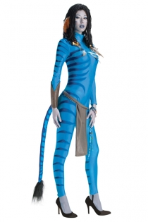 Adventurous Avatar Style Costume Bodysuit With Tail