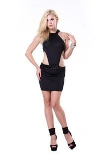 Bold Barely There Mini Dress with Front Embellishment and Halter Neck