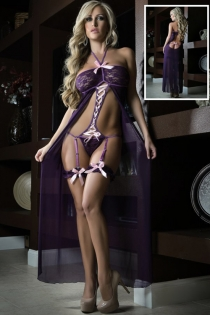 Gorgeous Caped Long Gown with Peekaboo Back and Lace G-string