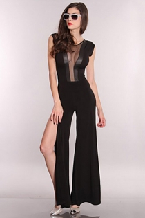 Wonderful Wide Legged Gown with Mesh Neckline and Leather Accent Panels