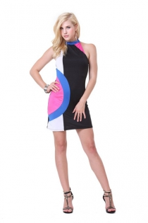 Vintage Inspired Sleeveless Mini Dress with Mod Multicolored Pattern
