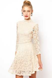 Angelic Lace High Necked Mini Dress with Cut-out Back