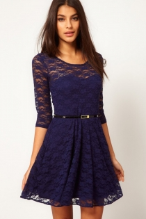 Slim Deep Blue Mini Dress with 3/4 Sleeves and Belt