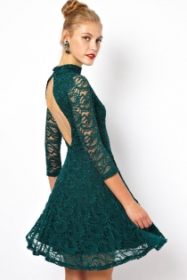Sexy Dark Green Mini Dress with High Neck and Cutout Back