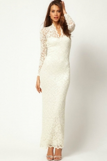 Angelic White Embroidered  Gown with Long Lace Sleeves