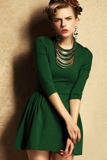 Pleasantly Classic Green Half Sleeves Mini Dress