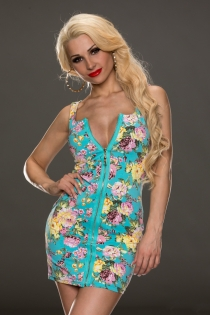 Spring Sensation Mini Dress with Total Zipper and Deep V-neckline