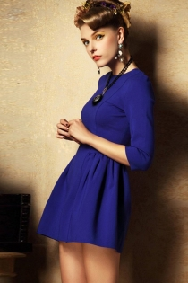 Classic Blue Half Sleeves Mini Dress with Zipper Back and Ruffle Skirt