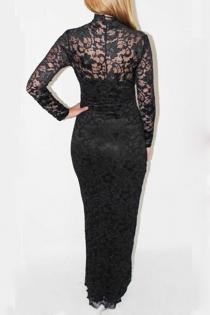 Black Full Length Gown with Long Sleeves and Lacy Overlay