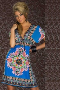 Impressive Floral Pattern Boho Dress with Short Sleeves
