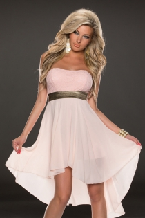 Alluring Peach Colored Sleeveless High-Low Dress With Incentive Belt