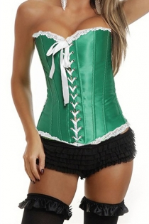 Elegant Emerald Lace Trim Corset with Lace-up Front