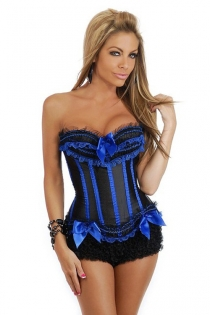 Black and Blue Boned Corset with Bow Details and Ruffled Trim