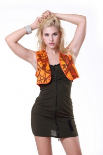 Spectacular Mini Dress with Front Zipper & Orange Vest