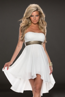 Superb White  Sleeveless High-Low Dress with Shining Belt