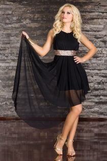 Extra Sensual Mini Dress With Ethereal Train and Spectacular Wide Belt