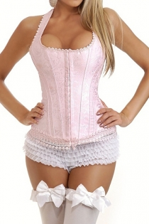 Cute Pink Floral Lace Trimmed Halter Corset
