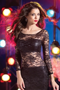 Body-Embracing Leather Club Dress With Floral Net Tummy Panel and Full Sleeves