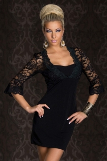 Delicate & Elegant Black Mini Dress With Astonishing Embroidered Corset