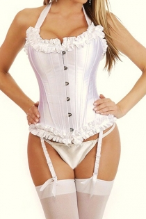 Pure White Halter Corset with Ruffled Trim, Garters, Matching G-string