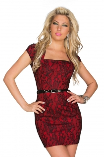 Seductive Floral Red Colored Pattern Mini Dress With Square Neckline