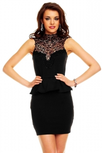 Beautiful Black Two Pieces Mini Dress with Lace Neckline