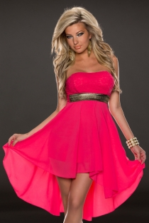 Attractive Vivid Colored Sleeveless High-Low Dress With Gold Belt