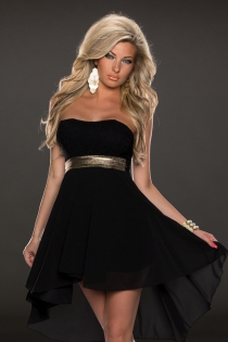 Ultra Elegant Black Sleeveless High-Low Dress With Gold Belt