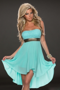 Superb Light Blue Sleeveless High-Low Dress With Gold Belt