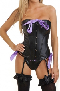 Erotic Black Boned Corset with  Purple Bow Details, Garters, G-string
