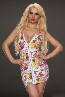 Sensual Floral Mini With Total Zipper Opening and  V-neckline