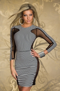 Astonishing Ilussion Striped Rounded Neckline Short Dress