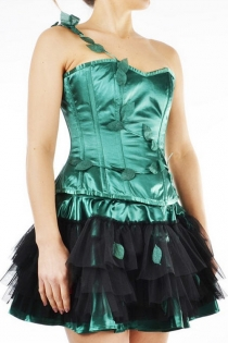 Spectacular Satin Steel Boned Corset Dress with Tulle Skirt and Leaf Accents