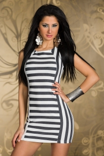 Amazing Striped Patterned High Neckline Mini Dress