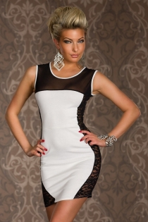 Highly Attractive Mini Dress with Sided Embroidery and Illusive Half Neckline