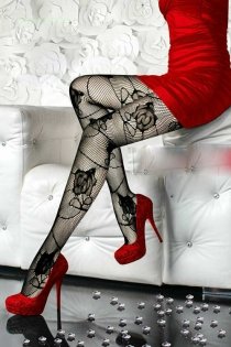 Enchanting Black Sheer Lace Pantyhose with Rose Pattern
