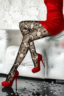 Floral Delight Sheer Black Pantyhose