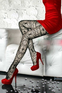 Charming Black Lace Pantyhose