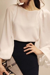 Chic White Shirt Featuring Wide Bishop Sleeves and Button Cuffs