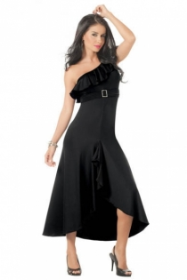 Black Ruffled Empire Waist Gown with Rhinestone Accent