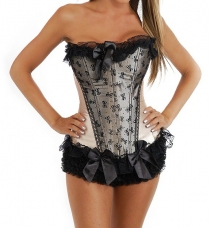 Sweet Blushing Pink Boned Corset with Black Ruffled Trim, Front Bow Details